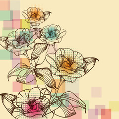 vector background with fantasy hand drawn flowers
