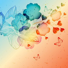 abstract background with  colored  fantasy flowers