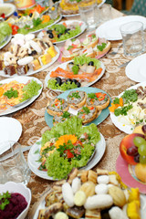 Holiday table full of tasty food