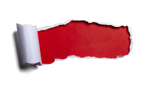 white paper ripped red black background opening