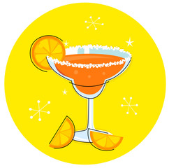 Orange Margarita: Retro cocktail icon isolated on yellow
