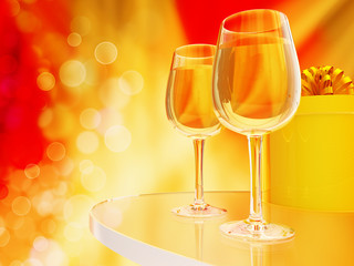 Champagne in glasses on a yellow and red background