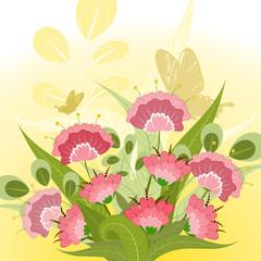 Romantic floral bouquet with decorative butterflies
