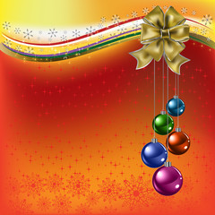 christmas greeting gold bow with colored balls on a red backgrou