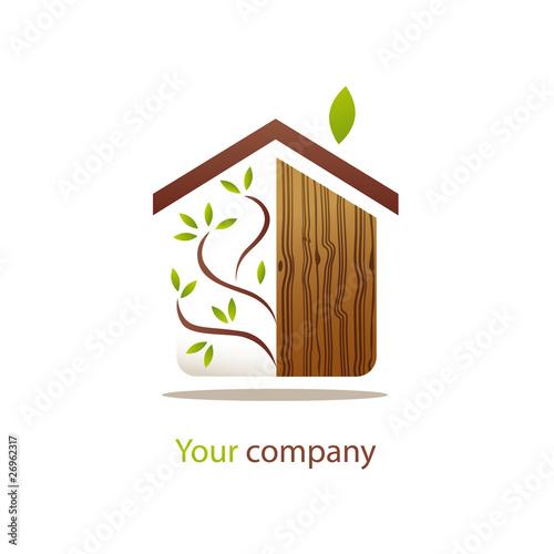 Logo entreprise maison bois fichier vectoriel libre de for Entreprise de construction maison en bois