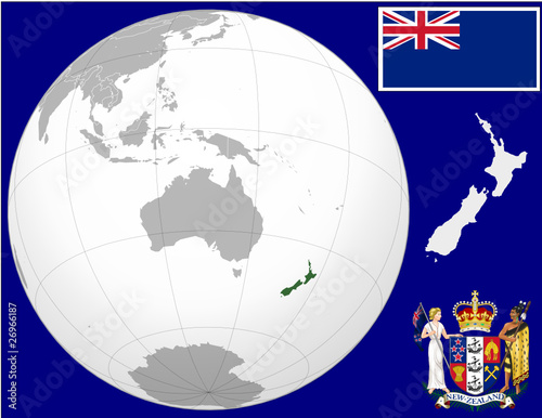 New zealand globe map locator world flag coat stock image and new zealand globe map locator world flag coat gumiabroncs Image collections