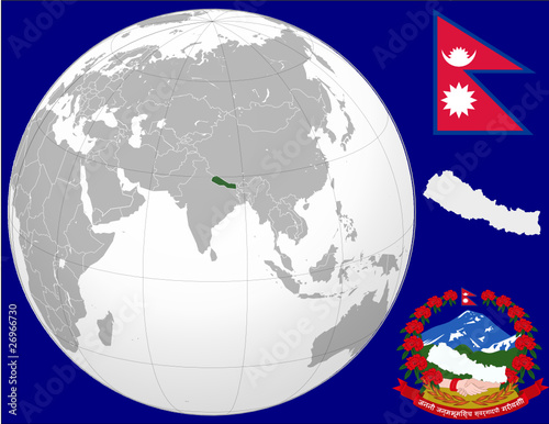 Nepal globe map locator world flag coat\