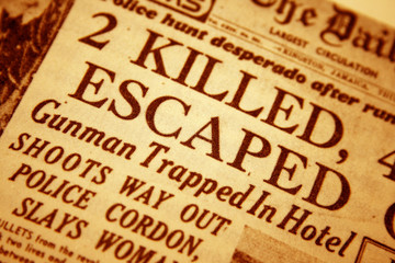 Closeup of a daily newspaper headline