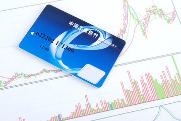 Credit card on stock chart