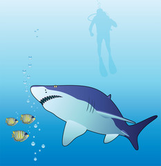 underwater vector of a shark, tropical fishes and scuba diver