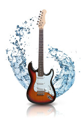 electric guitar with water splash isolated on white