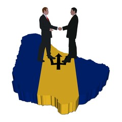 Business people on Barbados map flag illustration