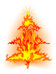Wall Mural - Burning christmas tree