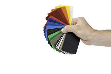 sample metal RAL color chart  hold by human hand