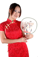 Smiling Chinese girl with fan