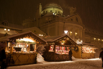 Evening on the snowy Christmas Market