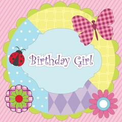 Birthday girl - vector colorful card for birthday party