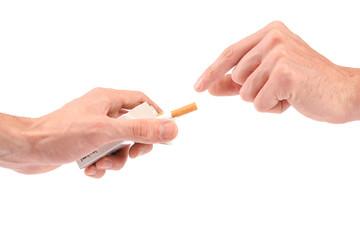 offering a cigarette