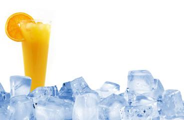 Ice orange juice with ice cubes