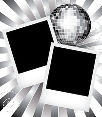 Polaroid photo templates with disco ball