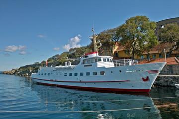 Ferry Ertholm in the harbor of Christianso Bornholm Denmark