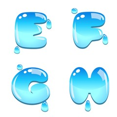 A set of water bead font type, letter E to H