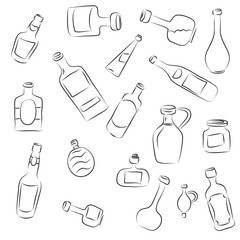 Collection of sketched vector bottles