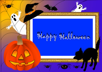 halloween photo frame. vector.