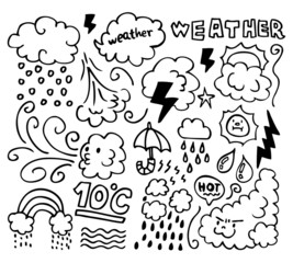 Set of grunge weather hand drawing icons
