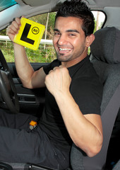 Happy male learner driver