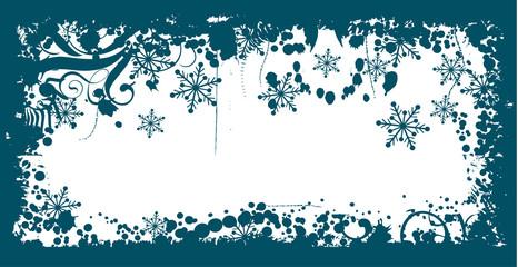 Winter grunge floral background, vector