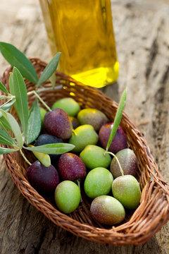 basket with olive and oil - cesto con olive e olio