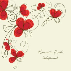 Spoed Fotobehang Abstract bloemen Romantic floral corner