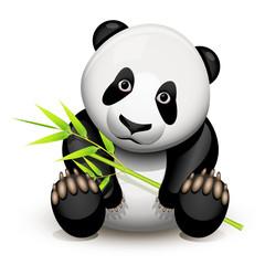 Little panda and bamboo