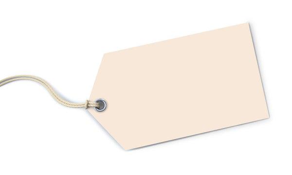 Off-white tag on white background