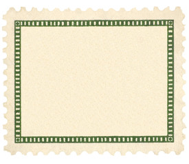 Blank Beige Vintage Postage Stamp Green Vignette Macro, Isolated