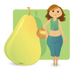 Women figure types: sweet pear