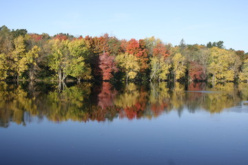 Colorful fall foliage reflected on river