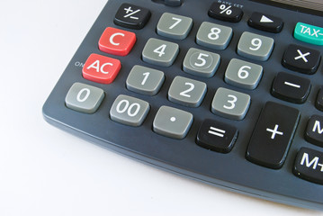 black calculator closeup detail