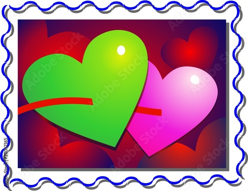 Two Colour Heart In A Border Of Love Symbols Stock Photo And