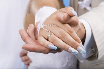 Hands of groom and bride.