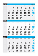 Three-month calendar,april2011