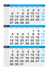 Three-month calendar,july2011