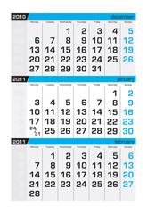 Three-month calendar,january 2011