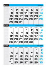 Three-month calendar,september2011