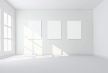 3d interno vuoto da arredare con tele
