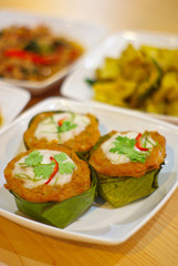 Steamed fish with curry paste, Thai food