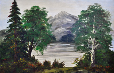 Trees on the bank of mountain lake