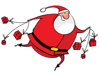 Running Santa with gifts
