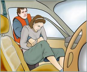 Rettung aus Kraftfahrzeug. Ohnmaechtiger Person erste Hilfe leis
